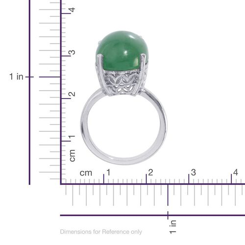 Emerald Quartz (Ovl) Solitaire Ring in Platinum Overlay Sterling Silver 10.000 Ct.