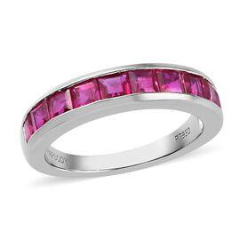 RHAPSODY 2 Carat Princess Cut AAAA Burmese Ruby Eternity Band Ring in 950 Platinum