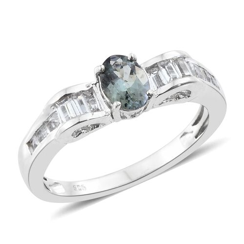 1.50 Ct Peacock Tanzanite and White Topaz Solitaire Design Ring in Platinum Plated Silver