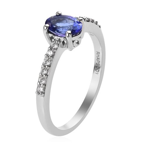 RHAPSODY 950 Platinum AAAA Tanzanite and Diamond Ring 0.90 Ct.
