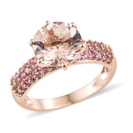 3.75 Ct AAA Marropino Morganite and Pink Tourmaline Ring in 9K Rose Gold