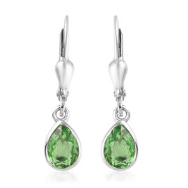 Helenite Lever Back Earrings in Platinum Overlay Sterling Silver 1.50 Ct.