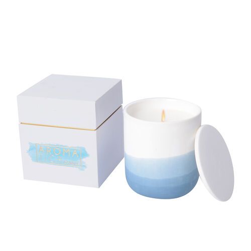 Soy Wax Aromatic Candle in Porcelain Container and Gift Box  (Burning Time - 35 Hours) - Hyacinth