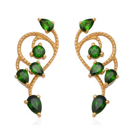Russian Diopside (Pear and Rnd) Earrings (with Push Back) in Yellow Gold Overlay Sterling Silver 2.6