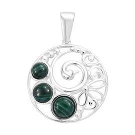 4.5 Ct Malachite Peacock Design Pendant in Sterling Silver 4.05 Grams