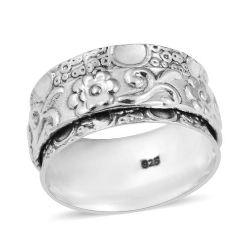 Floral Band Ring in Sterling Silver Ring 3.91 Grams