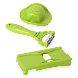 OTO - Set of 2 - Green Colour Magic Peeler, Julienne with Protector in Stainless Steel (Size 7.62x5.08x5.08 Cm) with Instruction Manual Included