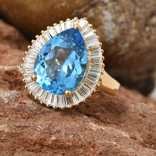 TJC Launch - Marambaia Topaz (Pear 9.00 Ct), Natural Cambodian Zircon Ring in 14K Gold Overlay Sterling Silver 11.000 Ct. Silver wt 5.44 Gms.
