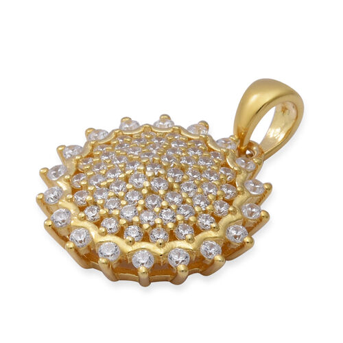 ELANZA Simulated Diamond Cluster Pendant in Yellow Gold Overlay Sterling Silver