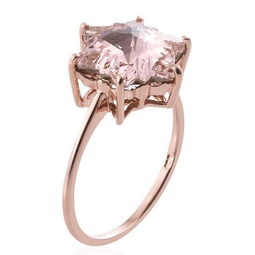 J Francis Crystal From Swarovski - Vintage Rose Crystal (Stellaris Cut) Ring in Rose Gold Overlay Sterling Silver