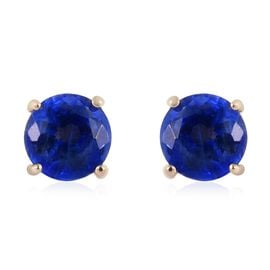 9K Yellow Gold AA Kyanite Stud Earrings (with Push Back) 0.65 Ct.