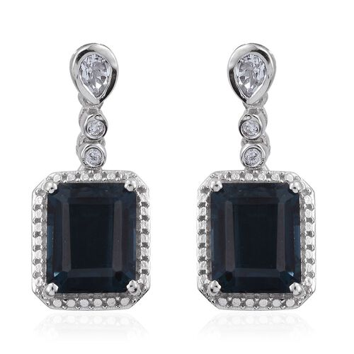 Indicolite Quartz (Oct), White Topaz Earrings (with Push Back) in Platinum Overlay Sterling Silver 9.250 Ct.