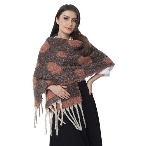 New Season- Dark Orange and Brown Colour Polka Dot Pattern Shawl (Size 220x52 Cm)