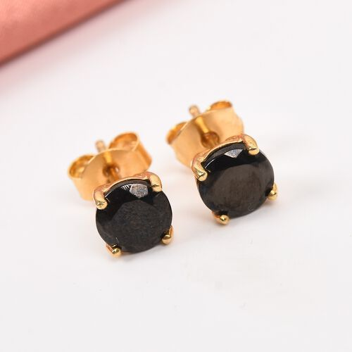 Elite Shungite Stud Earrings (with Push Back) in 14K Gold Overlay Sterling Silver  1.05 Ct.