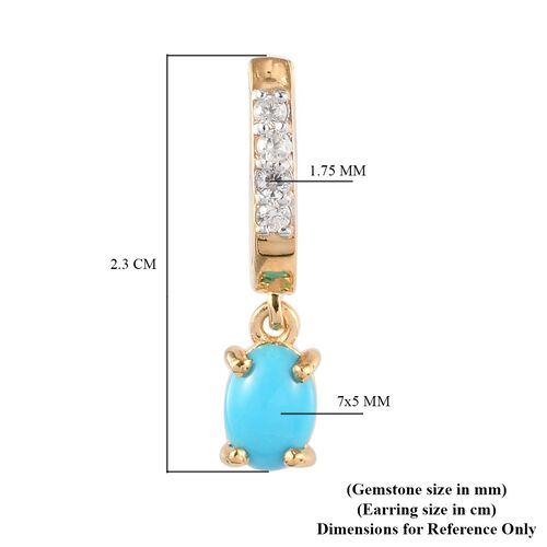 Arizona Sleeping Beauty Turquoise and Natural Cambodian Zircon Hoop Earrings with Drop in 14K Gold Overlay Sterling Silver 1.63 Ct.
