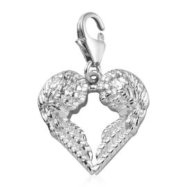 Platinum Overlay Sterling Silver Angle Wing Charm