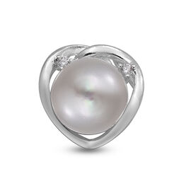 White Fresh Water Pearl ,  Cubic Zirconia  Pendant  Sterling Silver 5.56 ct  5.560  Ct.