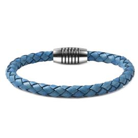 Genuine Braided Leather Bracelet (Size 8) in Stainless Steel - Blue