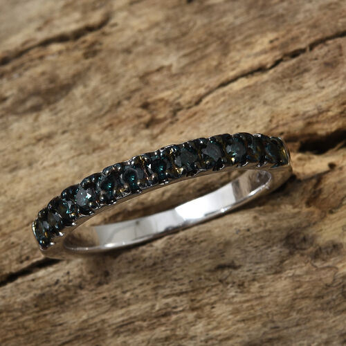 9K White Gold Blue Diamond (Rnd) Half Eternity Ring 0.400 Ct.