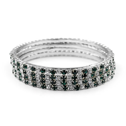 4 Piece Set - Green and White Austrian Crystal Bangle (Size 7.5) in Silver Tone