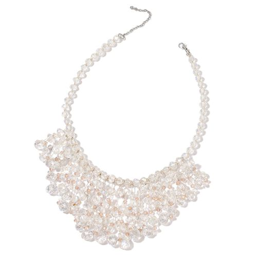 Simulated White and Champagne Diamond Waterfall Necklace (Size 18 with 3 inch Extender) in Silver To