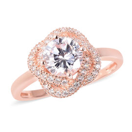 ELANZA Simulated Diamond (Rnd) Ring in Rose Gold Overlay Sterling Silver