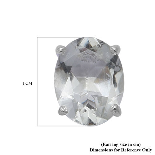 Green Amethyst Stud Earrings (with Push Back) in Sterling Silver 3.50 Ct.