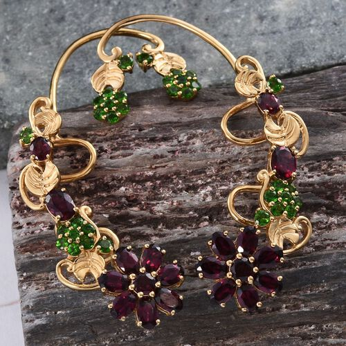 Rhodolite Garnet (Ovl), Russian Diopside and Pink Sapphire Earrings (with Push Back) in 14K Gold Overlay Sterling Silver 13.500 Ct.