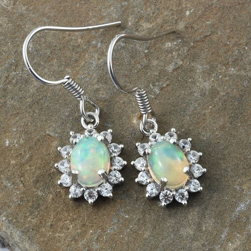 Ethiopian Welo Opal (Ovl), Natural Cambodian Zircon Hook Earrings in Platinum Overlay Sterling Silver 2.750 Ct.
