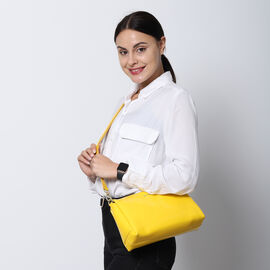 SENCILLEZ 100% Genuine Leather Crossbody Bag with Detachable Strap and Zipper Closure (Size 29x9x17cm) - Yellow