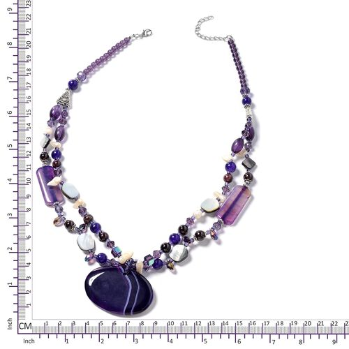 Purple Agate, Simulated Amethyst, Garnet, Black Shell, Keshi White Pearl and Multi Colour Beads Necklace (Size 24) in Silver Bond.