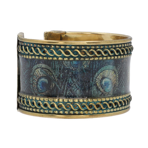 Meena Work Cuff Bangle (Size 7) in Antique Brass