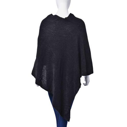 Black Colour Poncho (Size 90x80 Cm)