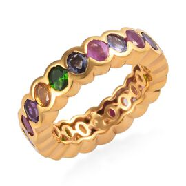 GP 4.50 Ct Tanzanite and Multi Gemstone Band Ring in 14K Gold Plated Sterling Silver 4.50 Grams