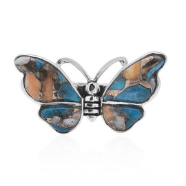 Santa Fe Collection - Spiny Turquoise Butterfly Ring in Sterling Silver 3.000 Ct.