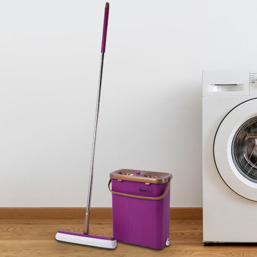 HOMESMART Sponge Head Mop with Dual Tank Bucket in Purple and Brown Colour (Size 141.5x33cm)