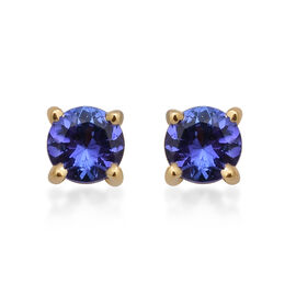 ILIANA 1.06 Ct AAA Tanzanite Stud Solitaire Earrings in 18K Yellow Gold