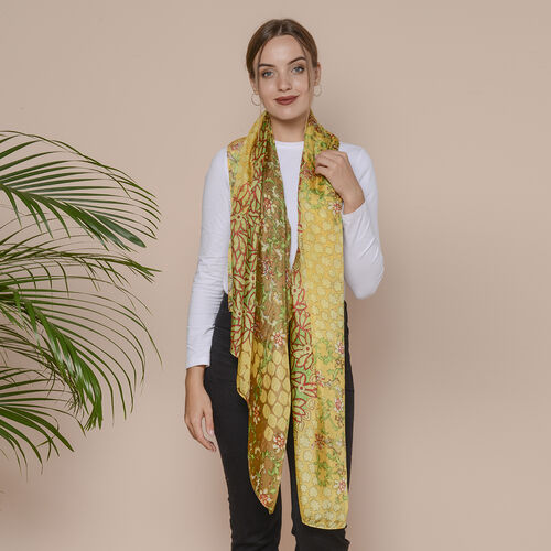 Yellow Flower Pattern 100% Mulberry Silk Scarf (Size 175x110 Cm)