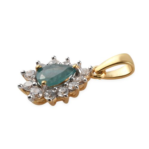 AAA Grandidierite and Natural Cambodian Zircon Halo Pendant in 14K Gold Overlay Sterling Silver 1.24 Ct.