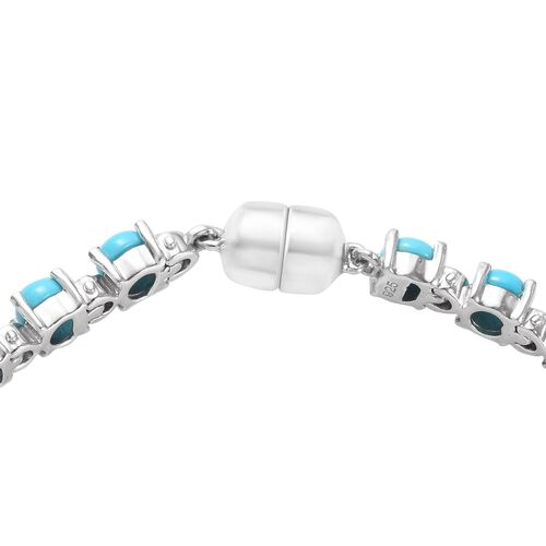 Arizona Sleeping Beauty Turquoise (Rnd) Bracelet (Size 7) in Platinum Overlay Sterling Silver 8.25 Ct, Silver wt 9.40 Gms