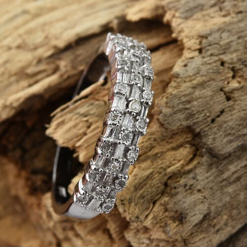 Diamond (Rnd and Bgt) Ring in Platinum Overlay Sterling Silver 0.330 Ct.