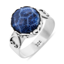 Royal Bali Blue Coral Filigree Ring in Sterling Silver