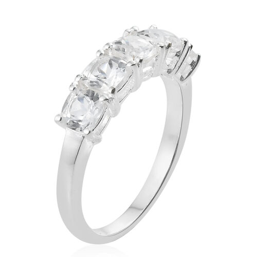 Simulated White Sapphire (Cush) 5 Stone Ring in Sterling Silver