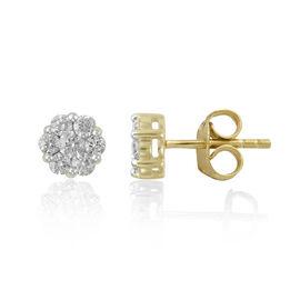 1 Carat Diamond Pressure Set Floral Stud Earrings in 9K Gold SGL Certified I3 GH