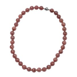464.50 Ct Strawberry Quartz Beaded Necklace with Magnetic Lock in Rhodium Plated Silver 20 Inch