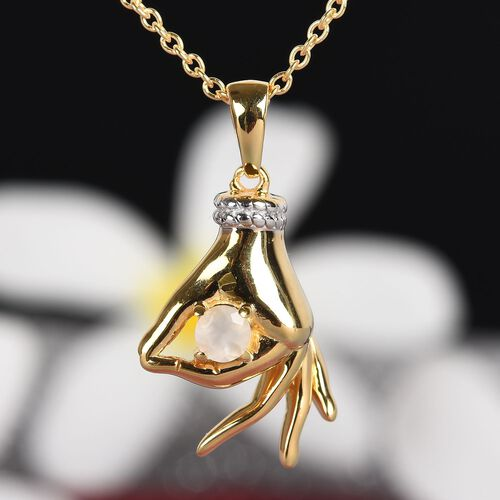 Sri Lankan Silver Moonstone Mudra Hand Pendant With Chain (Size 20) in Yellow Gold and Platinum Overlay Sterling Silver 0.25 Ct, Silver wt. 8.40 Gms