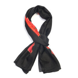 TJC POPPY COLLECTION 100% Mulberry Silk Red Poppy Flower Pattern Black Colour Scarf (Size 180X50 Cm)