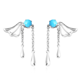 LucyQ Art Nouveau Collection Arizona Sleeping Beauty Turquoise Earrings (with Push Back) in Rhodium