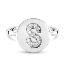 White Diamond Initial-S Ring in Platinum Overlay Sterling Silver