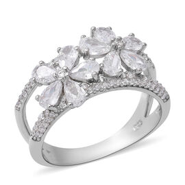 ELANZA Simulated Diamond Floral Ring in Rhodium Overlay Sterling Silver 4.42 Ct.